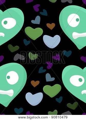 Nervous Green Hearts Pattern
