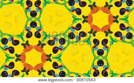 Yellow Seamless Pattern With Olive Shapes