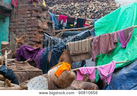 Laundry Out To Dry On The Wood For Cremation. Varanasi