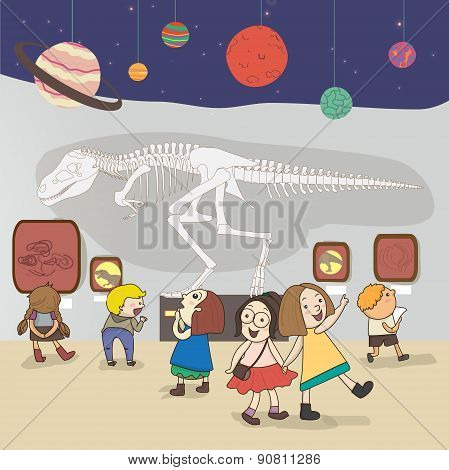 Children Are Having An Educational Study At The National Museum, Create By Vector