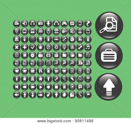 business, office, smartphone, mobile icons, signs, illustrations set, vector