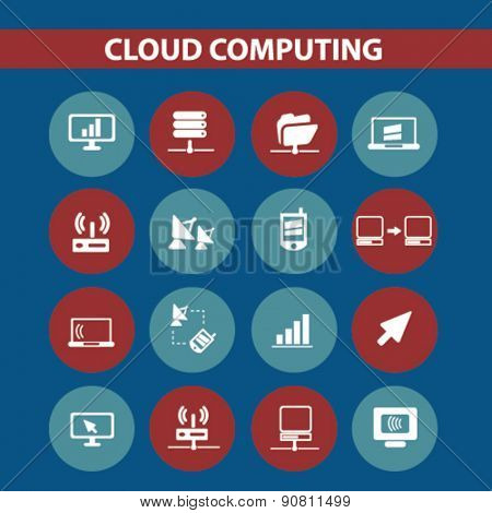 cloud computing, server icons, signs, illustrations set, vector
