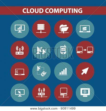 cloud computing, server icons, signs, illustrations set, vector