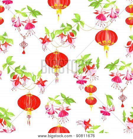 Oriental Lanterns Watercolor Seamless Vector Pattern