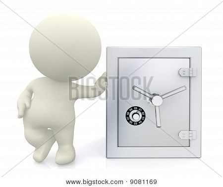 3D Guy With Hand On Safe