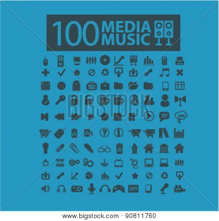 100 music, media, electronics icons, signs, illustrations set, vector