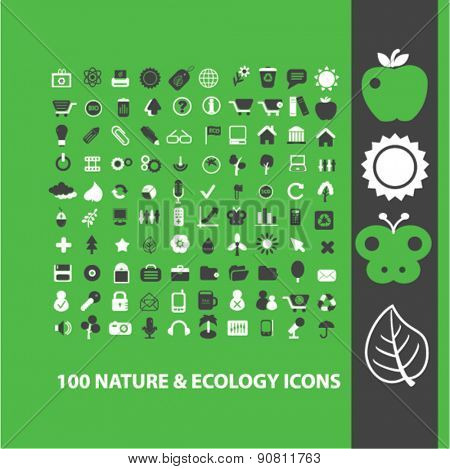 100 nature, ecology, climate icons, signs, illustrations set, vector
