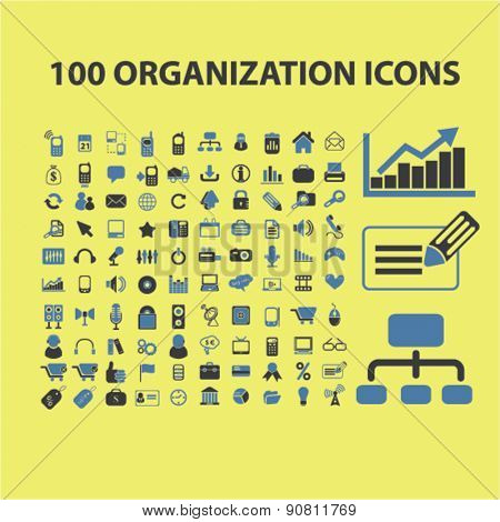 100 organization, management, marketing icons, signs, illustrations set, vector