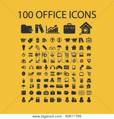 100 office, document, workplace icons, signs, illustrations set, vector