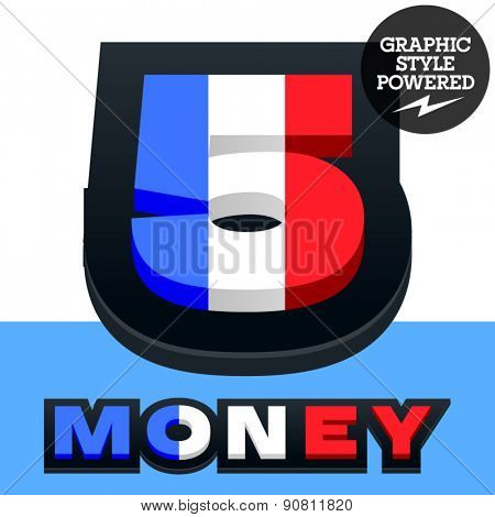 Vector set of French flag alphabet. File contains graphic styles available in Illustrator. Number  5