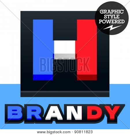 Vector set of French flag alphabet. File contains graphic styles available in Illustrator. Letter H