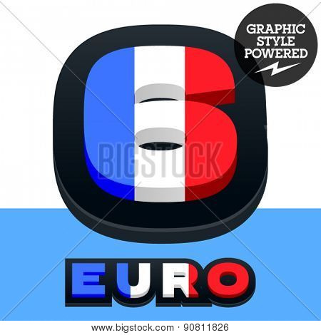 Vector set of French flag alphabet. File contains graphic styles available in Illustrator. Number  6