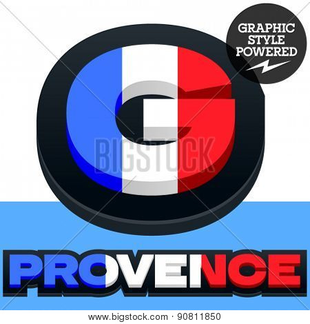 Vector set of French flag alphabet. File contains graphic styles available in Illustrator. Letter G
