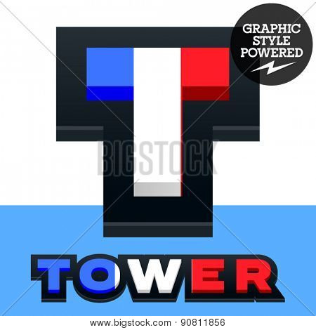 Vector set of French flag alphabet. File contains graphic styles available in Illustrator. Letter T
