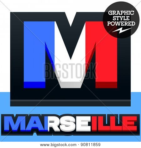 Vector set of French flag alphabet. File contains graphic styles available in Illustrator. Letter M