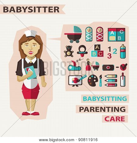 Profession Of People. Flat Infographic. Babysitter
