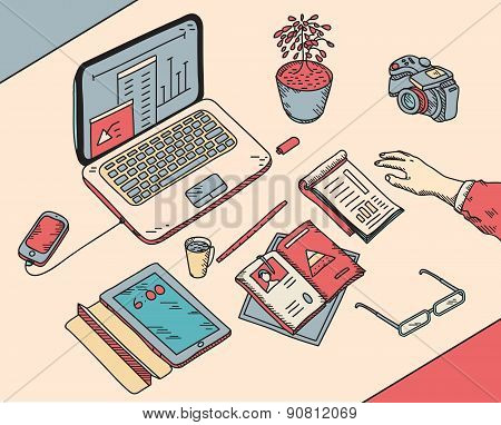 top view sketch hand drawn office or fome workplace freelancer with business objects and items lying
