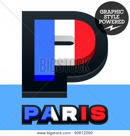 Vector set of French flag alphabet. File contains graphic styles available in Illustrator. Letter P