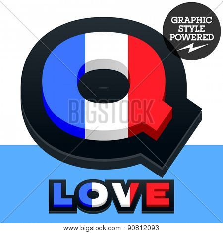 Vector set of French flag alphabet. File contains graphic styles available in Illustrator. Letter Q
