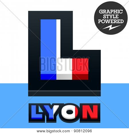 Vector set of French flag alphabet. File contains graphic styles available in Illustrator. Letter L