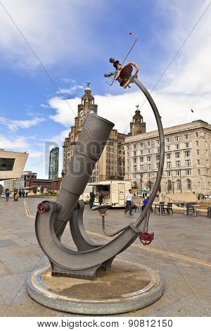 Sculpture at the waterfront in Liverpool, UK.