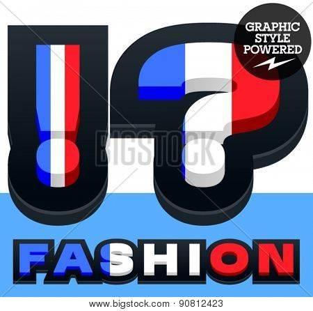 Vector set of French flag alphabet. File contains graphic styles available in Illustrator. Symbols