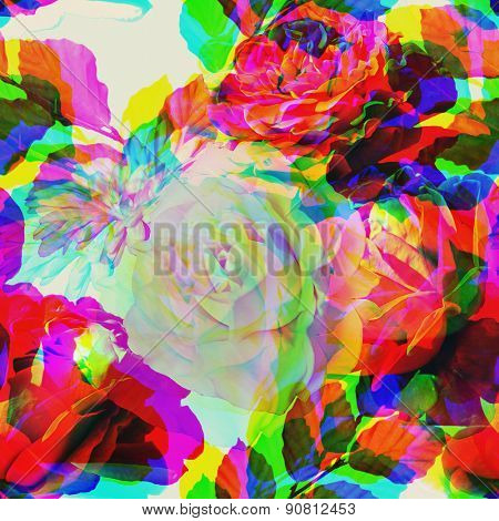 art colorful vintage floral seamless pattern with red pink and white roses on light background