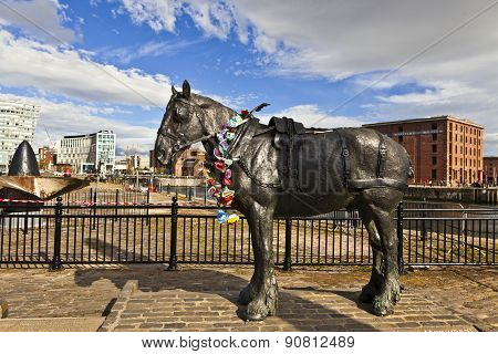 Horse sculpture in Liverpool, England.