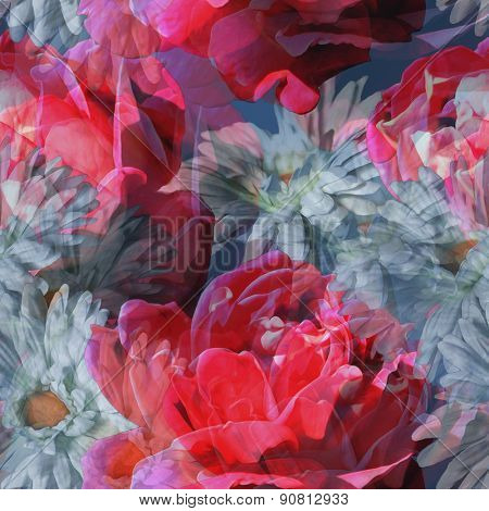 art vintage floral seamless pattern with red, pink and white roses and gerbera on grey background. Double Exposure effect