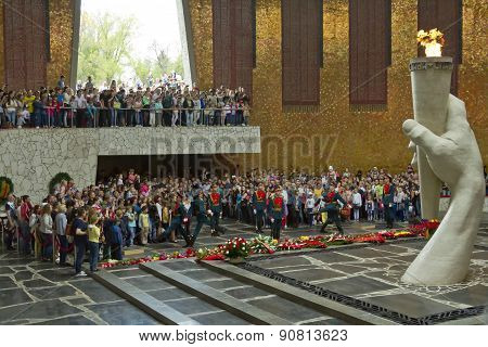 Change Of Guard Of Honor In The Hall Of Military Glory Of The Defenders Of Stalingrad On Mamaev Hill