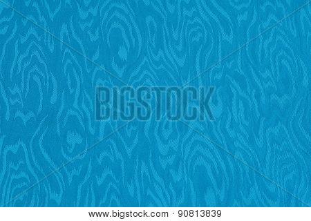 Blue Cyan Silk Damask Fabric With Moire Pattern