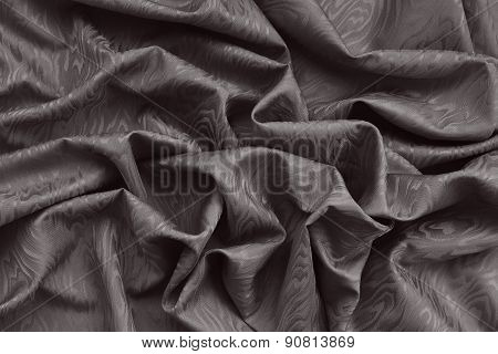 Brown Silk Damask Fabric With Wavy Pattern