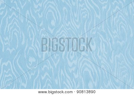 Light Blue Silk Damask Fabric With Moire Pattern