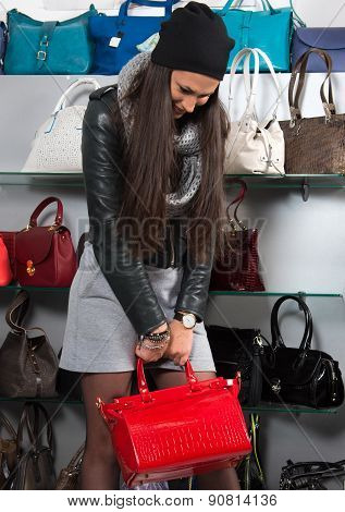 Beautiful Woman With Red Leather Bag