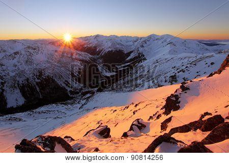 Panorama Of  Winter Tatra Mountains At Sunrise