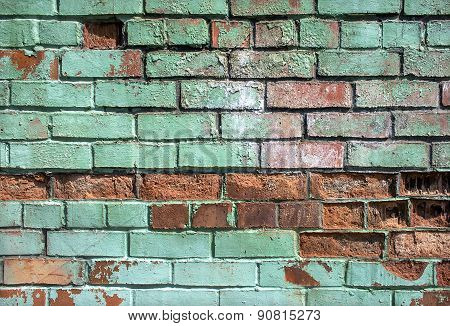 Brick Broken In An Old Wall Background