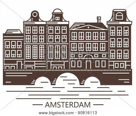 Old Amsterdam Holland houses on bridge set vector brown illustration