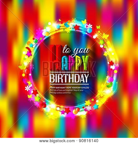 Birthday card with lights and confetti on multicolored background.