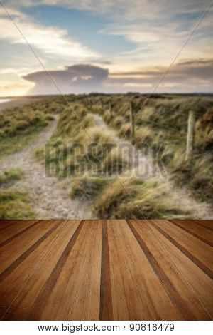 Blue Sky Summer Beach Sunset Landscape With Wooden Planks Floor