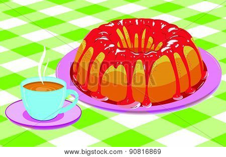 Cake With Glaze And A Cup Of Hot Drink