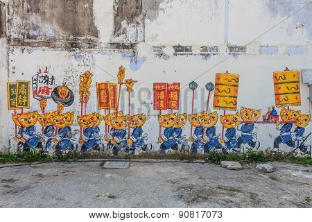 Penang Wall Artwork Cats And Humans