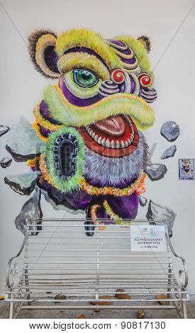 Penang Lion Dance Wall Artwork