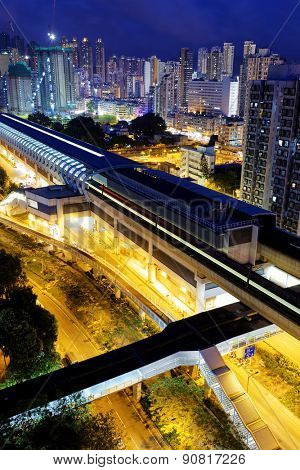 Long Ping, hong kong urban downtown and high speed train at night