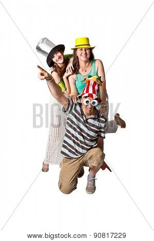Brazilian family ready for party wearing costumes on white background