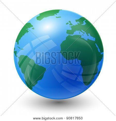 planet earth map - Atlantic Ocean view