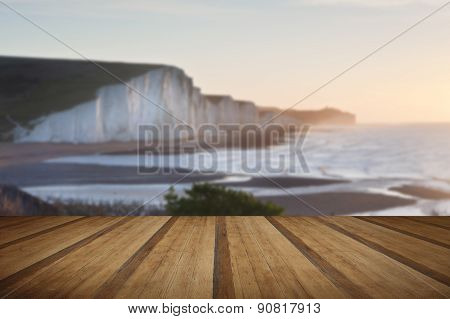 Seven Sisters Sunrise Viewed From Seaford Head With Wooden Planks Floor