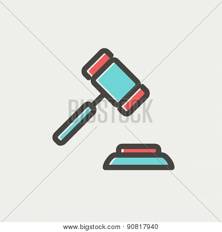 Gavel icon thin line for web and mobile, modern minimalistic flat design. Vector icon with dark grey outline and offset colour on light grey background.