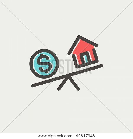 Compare or exchange home to money icon thin line for web and mobile, modern minimalistic flat design. Vector icon with dark grey outline and offset colour on light grey background.
