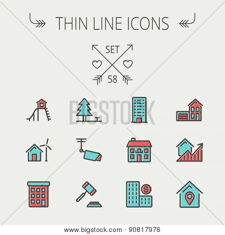Real estate thin line icon set for web and mobile. Set includes-pine tree, antenna, gavel, playhouse, windmill, buildings icons. Modern minimalistic flat design. Vector icon with dark grey outline and