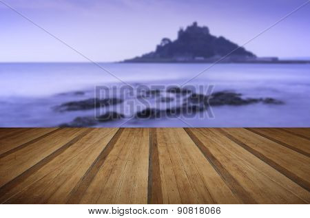 Island Castle Landscape Pre-dawn Long Exposure Cornwall England With Wooden Planks Floor